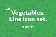 Vegetables. Line icon set.