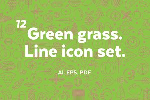 Green grass. Line icon set.
