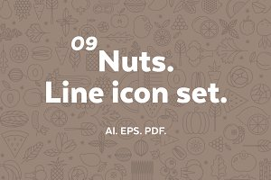 Nuts. Line icon set.