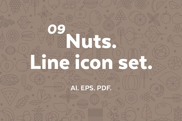 Nuts. Line icon set. - Icons