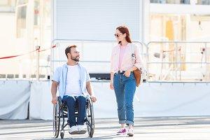 handsome boyfriend in wheelchair and