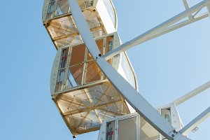 cabins of observation wheel against