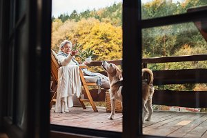 An elderly woman with a dog sitting