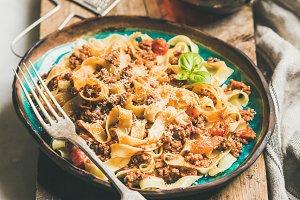 Pasta dinner with tagliatelle