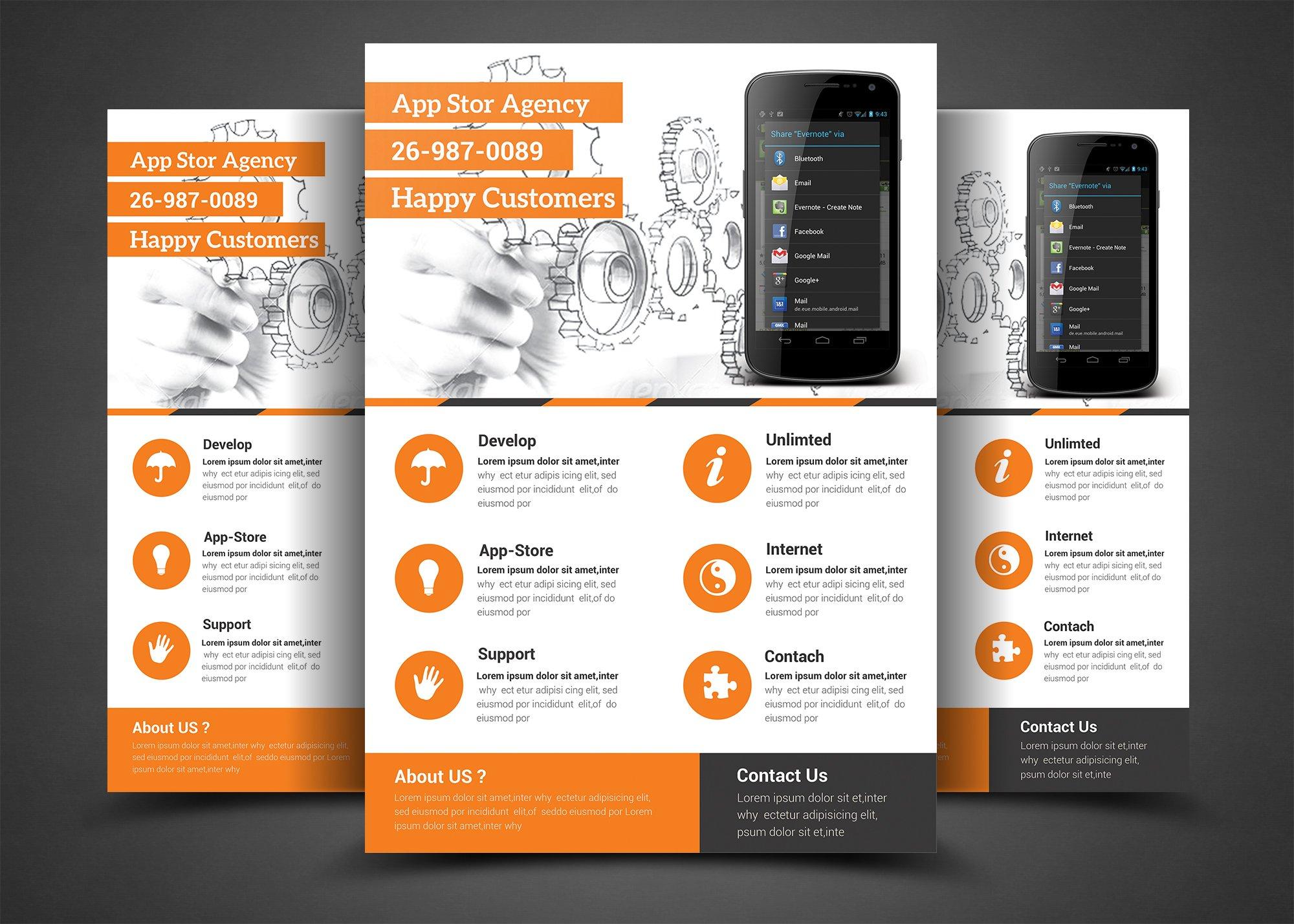 mobile app flyer print template flyer templates creative market. Black Bedroom Furniture Sets. Home Design Ideas