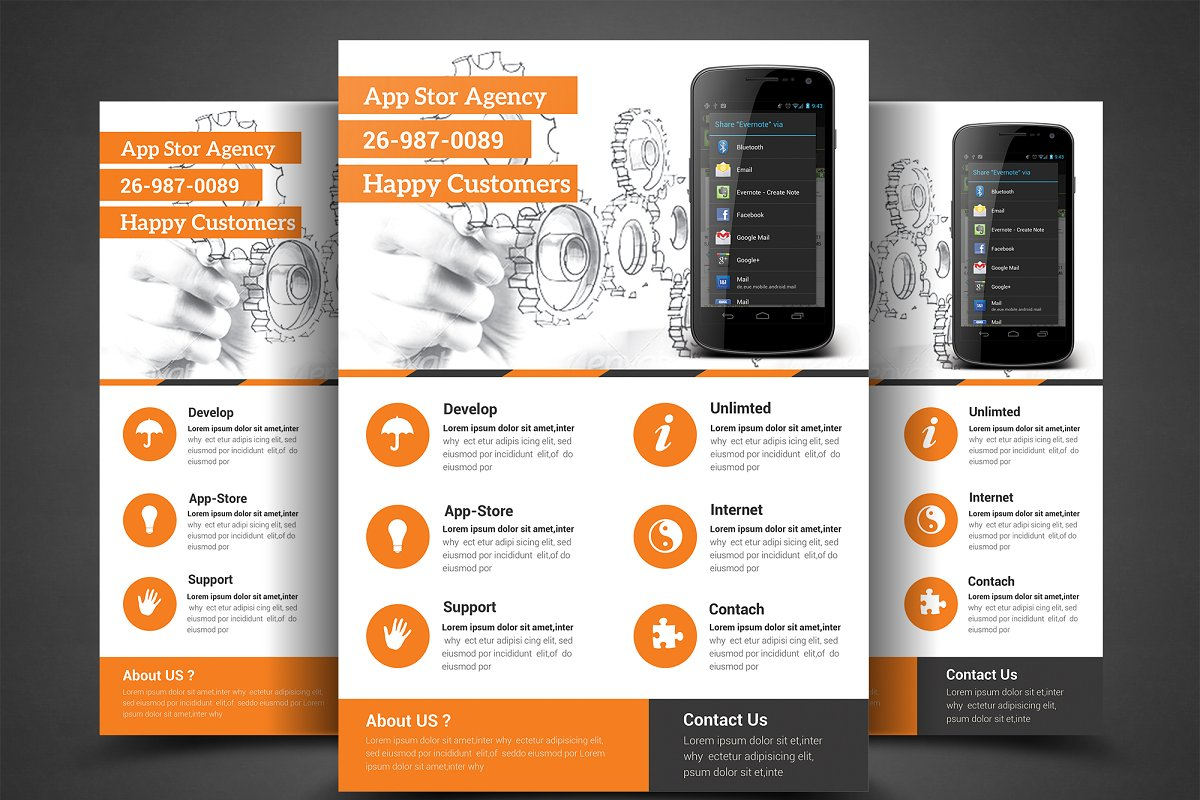 Mobile App Flyer Print Template ~ Flyer Templates ~ Creative