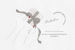 Watercolor Gift Wrapping Illustratio