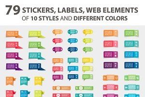 79 stickers, labels, web elements