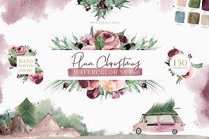 Plum Christmas Watercolor Clipart