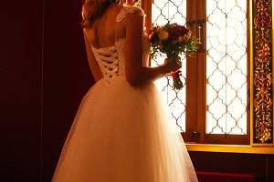 Portrait young beauty bride near the