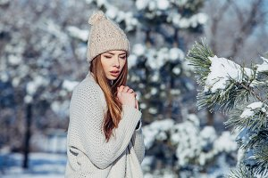 Beautiful winter portrait of young