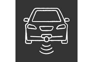 Smart car in front view chalk icon
