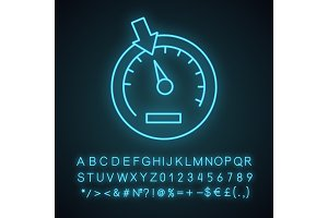 Speedometer neon light icon