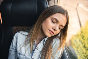 young attractive woman sleeping duri