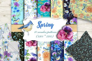 Spring Seamless Patterns Watercolor