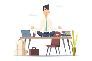 Businessman yoga meditation. Office