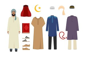 Arabic man clothes. National islamic