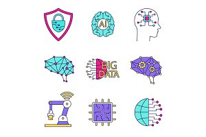 Artificial intelligence color icons