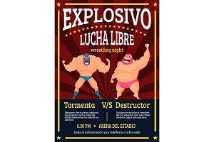 Lucha libre poster. Retro placard