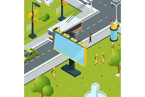 Urban billboards isometric. Town