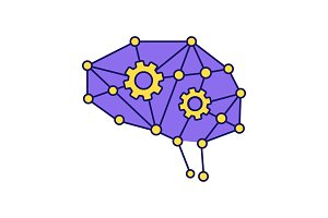Deep learning AI color icon
