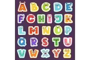 Cartoon alphabet with emotions