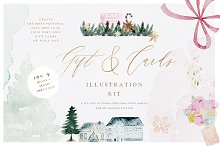Watercolor Christmas Card Creator by  in Illustrations