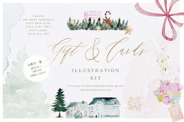 Illustrations and Illustration Products: Laras Wonderland - Watercolor Christmas Card Creator