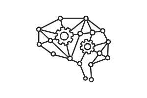 Deep learning AI linear icon