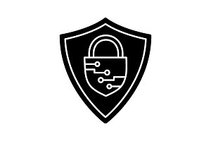 Cybersecurity glyph icon