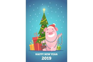 Cartoon pig new year background