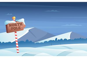 North pole road sign. Snowy