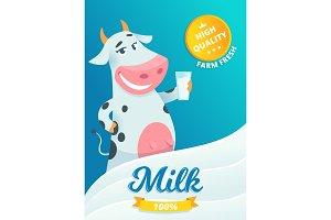 Milk advertizing. Smiling cow