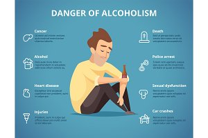 Alcoholism infographic. Alcohol and