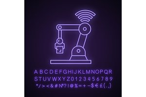 IoT robot neon light icon