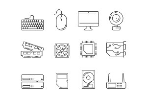Pc components icons. Processor ssd