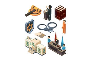 Justice legal isometric. Law hammer