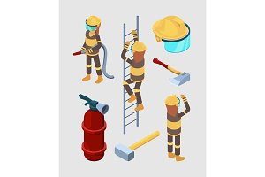Firefighters isometric. Proffesional