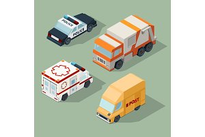 Urban cars isometric. Garbage truck