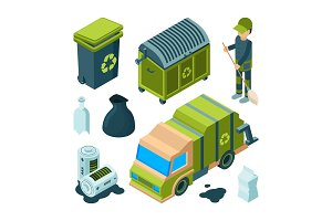 Garbage recycling isometric. City