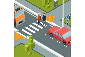 Care person crossing street. Urban