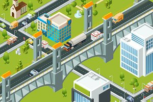 Isometric city bridge. Train railway