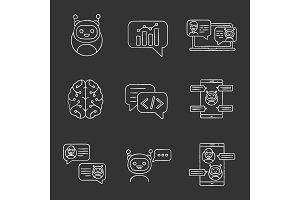 Chatbots chalk icons set
