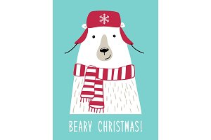 Cute retro hand drawn Christmas card