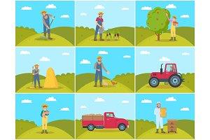 Beekeeper and Farming Man Vector