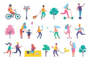Park People Isolated Icons Set