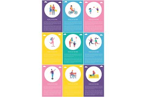 People in Park Posters Set Vector