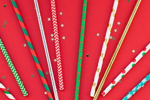 Drinking cocktail party straws red p