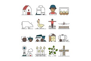 Farm symbols. Agricultural objects