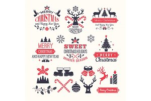 Christmas holiday labels. Vintage